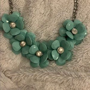 Flower necklace on silver chain
